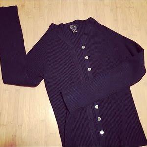 BCBG ribbed cardigan sweater - navy